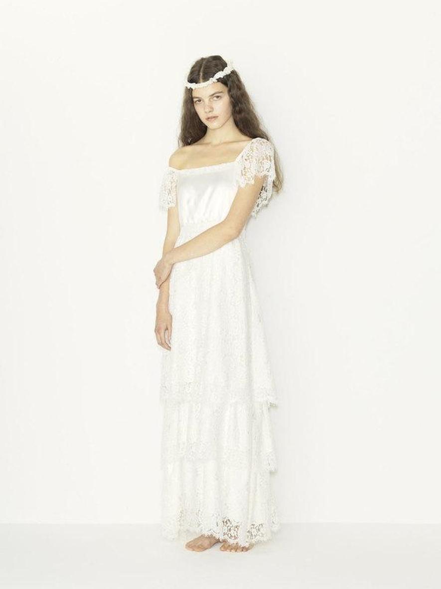 flower leaver lace one shoulder wedding dress(セミオーダー)
